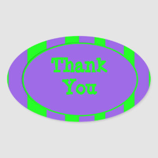 purple green Thank You Stripes Oval Sticker