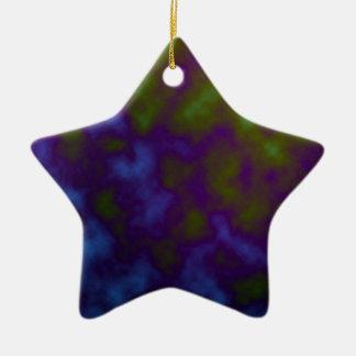 purple green tie dye art ceramic ornament