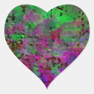 Purple & Green Tie Dye Heart Sticker