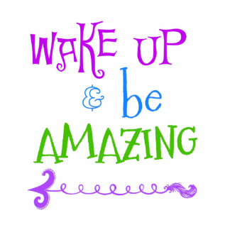 Purple, Green Wake up; Be Amazing Photo Sculpture Keychain