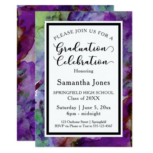 Purple & Green Watercolor Graduation Party Card