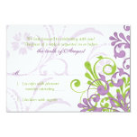Purple Green White Abstract Floral Wedding rsvp