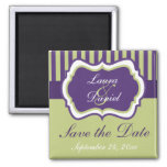 Purple, Green, White Damask Save the Date Magnet
