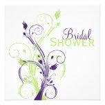 Purple Green White Floral Bridal Shower Invitation