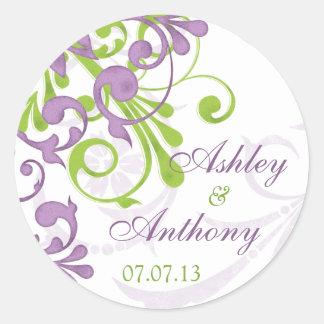 Purple Green White Floral Wedding Stickers