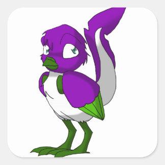Purple/Green/White Reptilian Bird Square Sticker