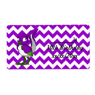 Purple/Green/White Reptilian Bird Water Bottle Shipping Label