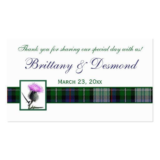 Purple, Green, White Tartan and Thistle Favor Tag Business Card Template