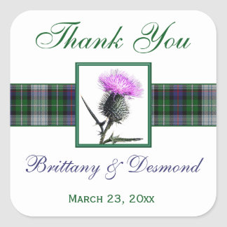 "Purple, Green, White Tartan Thistle 1.5"" Sticker"