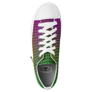 Purple Green Woven Pattern Low Top Canvas Shoes