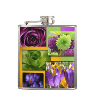 Purple & Grenn Flower Collage Hip Flask