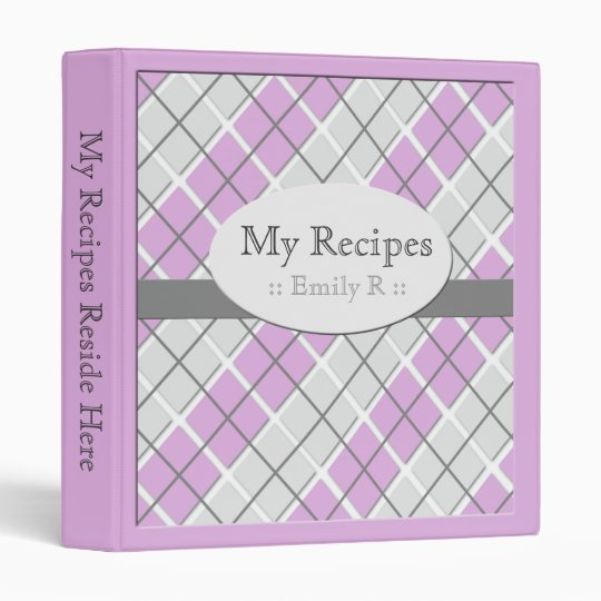 Purple & Grey Argyle Recipe Binder