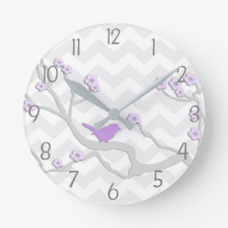 Purple Grey Bird on Branch Nursery Wall Clock