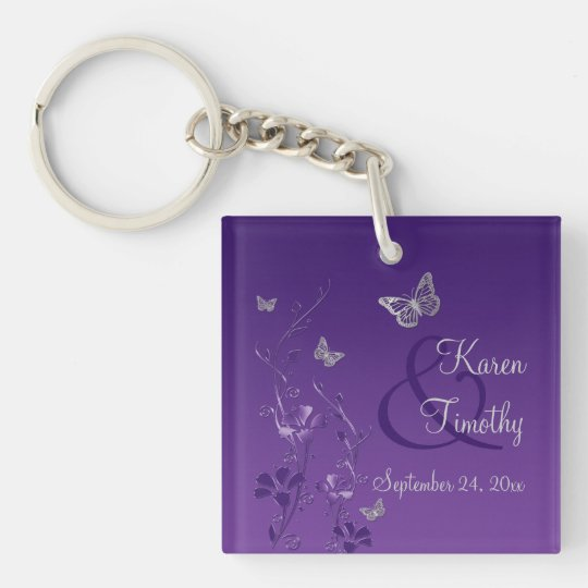 Purple Grey Butterfly Floral Acrylic Keychain