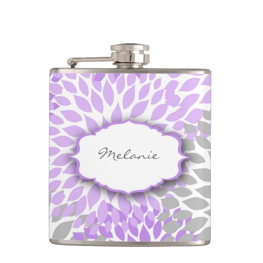 Purple Grey Dahlia custom liquor flask with name