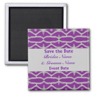 purple grey save the date magnet