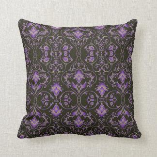 Purple grey scroll Black Ornate throw pillow