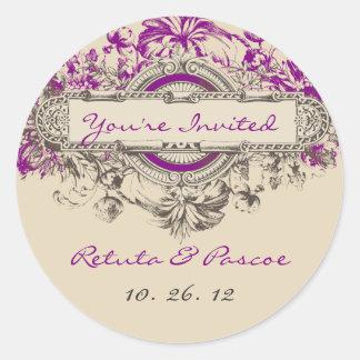 Purple Grey Vintage Floral Wedding Sticker