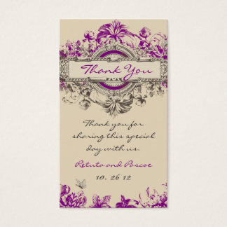 Purple Grey Vintage Floral Wedding Thank You Tag Business Card