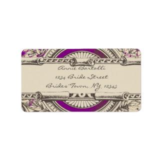 Purple Grey Vintage RSVP Return Address Label