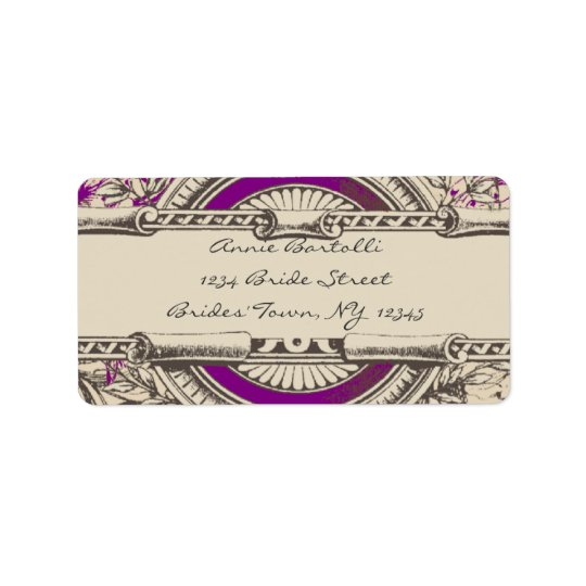 Purple Grey Vintage RSVP Return Address Label