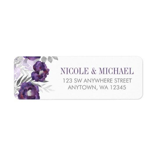 Purple Grey Watercolor Flowers Return Address
