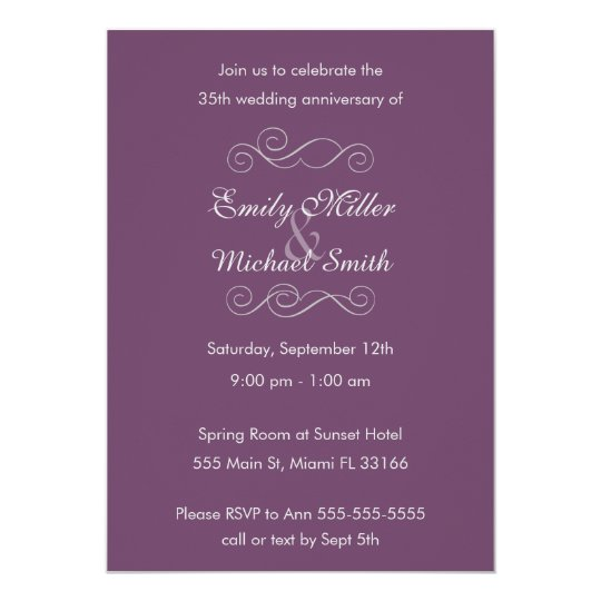 Purple Grey Wedding Anniversary Invitation