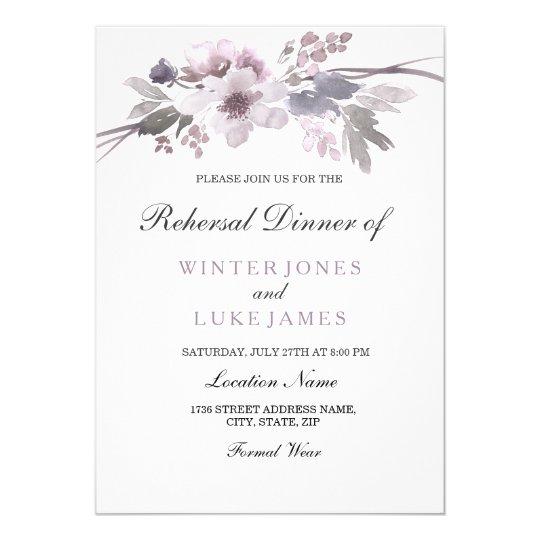 Purple Grey Winter Floral Wedding Rehearsal Dinner Card