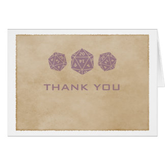 Purple Grunge D20 Dice Gamer Thank You Card