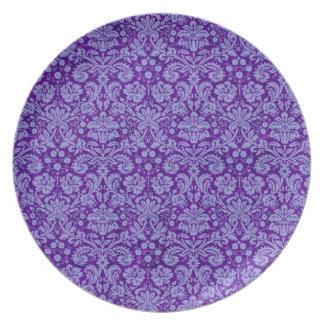 Purple Grunge Damask Plates