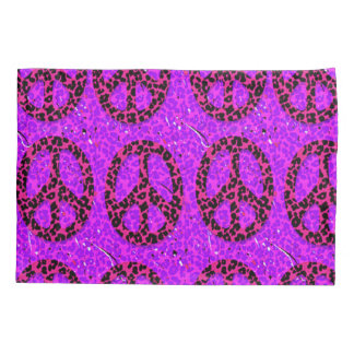 Purple Grunge Peace Signs Pillowcase