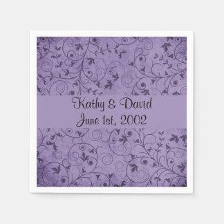 Purple Grungy Floral (Wedding) Paper Napkins