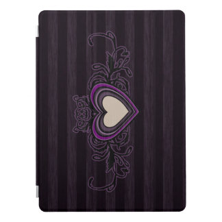 "Purple Grungy Stripes Dark Heart 12.9"" iPad Pro Cover"