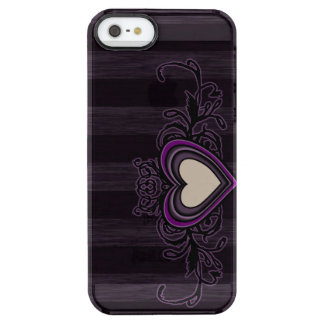 Purple Grungy Stripes Dark Heart Clear iPhone SE/5/5s Case