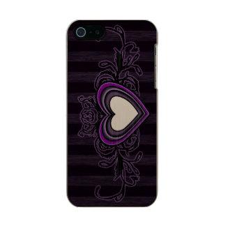 Purple Grungy Stripes Dark Heart Incipio Feather® Shine iPhone 5 Case