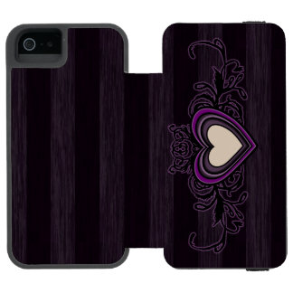 Purple Grungy Stripes Dark Heart Incipio Watson™ iPhone 5 Wallet Case