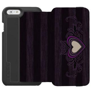 Purple Grungy Stripes Dark Heart Incipio Watson™ iPhone 6 Wallet Case