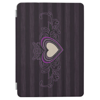 Purple Grungy Stripes Dark Heart iPad Air Cover