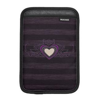 Purple Grungy Stripes Dark Heart iPad Mini Sleeve