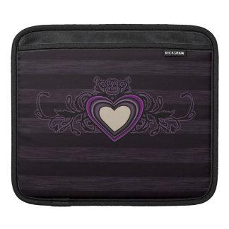 Purple Grungy Stripes Dark Heart iPad Sleeve