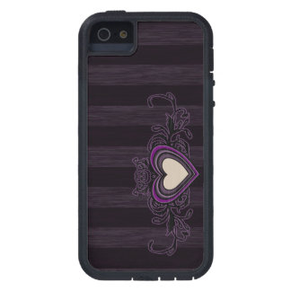 Purple Grungy Stripes Dark Heart iPhone 5 Case