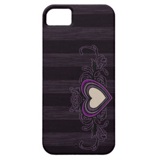 Purple Grungy Stripes Dark Heart iPhone 5 Case