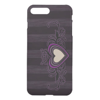 Purple Grungy Stripes Dark Heart iPhone 8 Plus/7 Plus Case