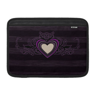 Purple Grungy Stripes Dark Heart MacBook Sleeve