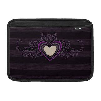 Purple Grungy Stripes Dark Heart MacBook Sleeves