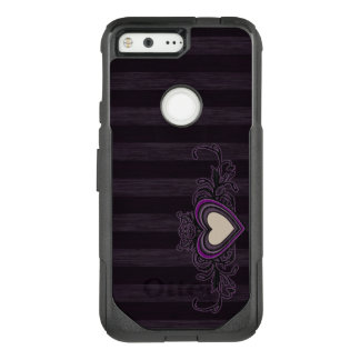 Purple Grungy Stripes Dark Heart OtterBox Commuter Google Pixel Case