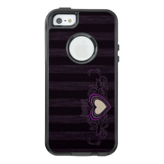 Purple Grungy Stripes Dark Heart OtterBox iPhone 5/5s/SE Case