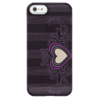 Purple Grungy Stripes Dark Heart Permafrost® iPhone SE/5/5s Case