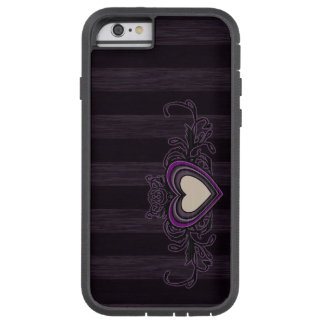 Purple Grungy Stripes Dark Heart Tough Xtreme iPhone 6 Case