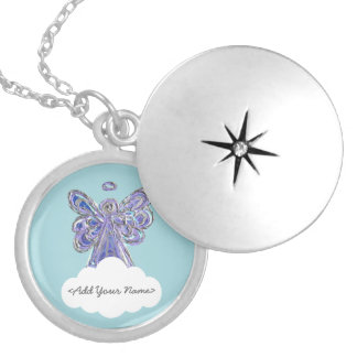 Purple Guardian Angel Series Cloud Custom Locket